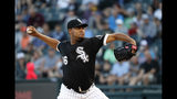 Chicago White Sox starting pitcher Ivan Nova delivers during the first inning of a baseball game against the Miami Marlins, Monday, July 22, 2019, in Chicago. (AP Photo/Charles Rex Arbogast)