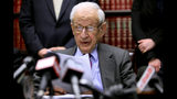 "FILE - In this Dec. 16, 2009 file photo, Manhattan District Attorney Robert Morgenthau speaks during a press conference in New York. Morgenthau, the longest-serving former Manhattan district attorney who tried mob kingpins, music stars and white-collar criminals and inspired a character on ""Law & Order"" has died. He was 99. His wife, Lucinda Franks, told The New York Times that Morgenthau died Sunday, July 21, 2019, at a Manhattan hospital after a short illness. (AP Photo/Bebeto Matthews, File)"