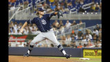 San Diego Padres' Chris Paddack pitches during the sixth inning of the team's baseball game against the Miami Marlins, Wednesday, July 17, 2019, in Miami. Paddack lost his no-hit bid when Marlins' Starlin Castro led off the eighth inning with a home run. The Padres won 3-2. (AP Photo/Wilfredo Lee)