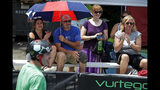 Fans watch during the competition during the first day of Pogopalooza, The World Championships of Pogo in Wilkinsburg, Pa., Saturday, July 20, 2019. (AP Photo/Gene J. Puskar)