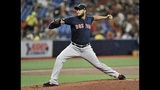 Boston Red Sox starter Eduardo Rodriguez pitches during the first inning of a baseball game Monday, July 22, 2019, in St. Petersburg, Fla. (AP Photo/Steve Nesius)
