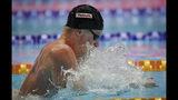 Britain's Adam Peaty swims in the men's 100m breaststroke final at the World Swimming Championships in Gwangju, South Korea, Monday, July 22, 2019. (AP Photo/Lee Jin-man)