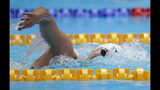 United States' Katie Ledecky swims in her women's 1500m heat at the World Swimming Championships in Gwangju, South Korea, Monday, July 22, 2019. (AP Photo/Lee Jin-man)