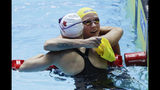 Sweden's Sarah Sjostrom, right, congratulates Canada's Margaret MacNeil after winning the women's 100m butterfly final at the World Swimming Championships in Gwangju, South Korea, Monday, July 22, 2019. (AP Photo/Mark Schiefelbein)