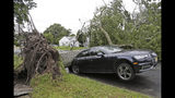 A car is crushed under a large tree in Neptune City, N.J., Tuesday, July 23, 2019. Crews are working to restore electricity for hundreds of thousands of people in New Jersey after powerful storms blew across the state the day before. (AP Photo/Seth Wenig)
