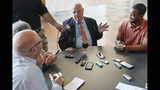 Mike Brown, owner of the Cincinnati Bengals NFL football team, speaks while being interviewed at Paul Brown Stadium during the team's media luncheon, Tuesday, July 23, 2019, in Cincinnati. (AP Photo/John Minchillo)