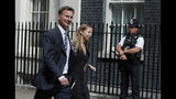 Britain's Foreign Secretary Jeremy Hunt arrives for a cobra meeting at 10 Downing Street in London, Monday, July 22, 2019.(AP Photo/Frank Augstein)