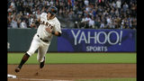 San Francisco Giants' Joe Panik rounds the bases to score a run against the Chicago Cubs during the fifth inning of a baseball game in San Francisco, Monday, July 22, 2019. (AP Photo/Jeff Chiu)