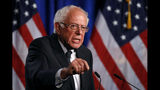 FILE - In this July 17, 2019, photo, Democratic presidential candidate, Sen. Bernie Sanders, I-Vt., speaks at George Washington University in Washington. Sanders' campaign is building an aggressive, in-house media operation to take its candidate's message directly to voters. (AP Photo/Patrick Semansky)