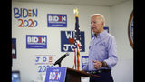 Former Vice President and Democratic presidential candidate Joe Biden speaks at a campaign event in an electrical workers union hall Saturday, July 20, 2019, in Las Vegas. (AP Photo/John Locher)