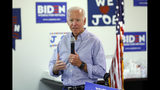 In this July 20, 2019, photo, former Vice President and Democratic presidential candidate Joe Biden speaks at a campaign event in an electrical workers union hall in Las Vegas. Biden is proposing a sweeping criminal justice agenda that would reverse key provisions of the 1994 crime bill he helped author and which rivals for the Democratic presidential nomination have blamed for mass incarceration of racial minorities. (AP Photo/John Locher)
