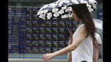 A woman walks by an electronic stock board of a securities firm in Tokyo, Tuesday, July 23, 2019. Asian stock markets rose on Tuesday on optimism over possible new U.S.-China talks despite rising Middle East tensions. (AP Photo/Koji Sasahara)