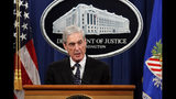 """FILE - This May 29, 2019 file photo shows special counsel Robert Mueller speaking about the Russia investigation at the Department of Justice in Washington. MSNBC contributor Joyce Vance, a former federal prosecutor, apologized and deleted a tweet that appeared to confuse readers about Fox News Channel's plans to cover Mueller's testimony before Congress this week. Vance said on Twitter Sunday, July 21, that Fox isn't airing Mueller's testimony because President Donald Trump is afraid of what will happen to his supporters if they heard Mueller. But Fox is airing the testimony Wednesday, along with ABC, CBS , NBC and the cable new news networks. Vance tweeted that while she meant it ironically, """"my apologies to anyone I confused."""" (AP Photo/Carolyn Kaster, File)"""