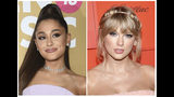 This combination photo shows singers Ariana Grande at the 13th annual Billboard Women in Music event in New York on Dec. 6, 2018, left, and Taylor Swift at the Time 100 Gala in New York on April 23, 2019. Grande and Swift are the top contenders at the 2019 MTV Video Music Awards, each scoring 10 nominations. The 2019 VMAs will take place at the Prudential Center in Newark, N.J. on Aug. 26. (AP Photo)