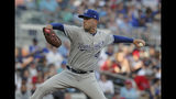 Kansas City Royals Danny Duffy pitches against the Atlanta Braves during the first inning of a baseball game Tuesday, July 23, 2019, in Atlanta. (AP Photo/Tami Chappell)