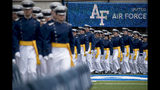 FILE - In this May 30, 2019 file photo, Air Force Cadets arrive at the 2019 United States Air Force Academy Graduation Ceremony at Falcon Stadium at the United States Air Force Academy, in Colorado Springs, Colo. An analysis released Tuesday, July 23, 2019, shows the percentage of female students nominated by members of Congress for admission to U.S. service academies has been rising although men are still put forward at numbers nearly three times higher than women. (AP Photo/Andrew Harnik, File)