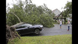 A car is crushed under a large tree in Neptune City, N.J., Tuesday, July 23, 2019. Crews are working to restore electricity for hundreds of thousands of people in New Jersey after powerful storms blew across the state. (AP Photo/Seth Wenig)