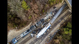 FILE- This Feb. 4, 2018, file photo shows an aerial view of the site of a fatal train crash between an Amtrak train, bottom right, and a CSX freight train, top left, in Cayce, S.C. Federal officials are meeting to discuss what caused an Amtrak train to divert on to a side track in South Carolina last year and slam into a parked train, killing two crew members and injuring more than 100 passengers. The National Transportation Safety Board is meeting Tuesday, July 23, 2019 in Washington, D.C. (AP Photo/Jeff Blake, File)