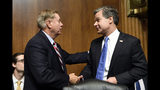 FBI Director Christopher Wray, right, talks with Senate Judiciary Committee Chairman Sen. Lindsey Graham, R-S.C., right, before he sits down to testify before the committee on Capitol Hill in Washington, Tuesday, July 23, 2019. Wray's appearance before a Senate committee could be something of a preview of the intense questioning special counsel Robert Mueller is likely to face in Congress the next day. (AP Photo/Susan Walsh)