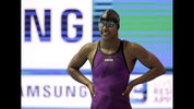 Latroya Pina of Cape Verde waits to start in her heat of the women's 100m freestyle at the World Swimming Championships in Gwangju, South Korea, Thursday, July 25, 2019. When Pina first learned to swim at the Boys and Girls Club in East Providence, Rhode Island, she couldn't have known she'd one day compete at the Olympics with her siblings. (AP Photo/Mark Schiefelbein)