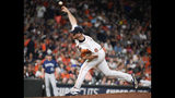 Houston Astros relief pitcher Joe Biagini delivers during the eighth inning of the team's baseball game against the Seattle Mariners, Saturday, Aug. 3, 2019, in Houston. (AP Photo/Eric Christian Smith)