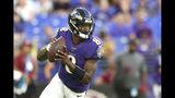 Baltimore Ravens quarterback Lamar Jackson looks to pass against the Jacksonville Jaguars during the first half of an NFL football preseason game Thursday, Aug. 8, 2019, in Baltimore. (AP Photo/Gail Burton)