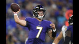 Baltimore Ravens quarterback Trace McSorley looks to pass the ball against the Jacksonville Jaguars during the first half of an NFL football preseason game Thursday, Aug. 8, 2019, in Baltimore. (AP Photo/Nick Wass)