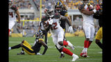 Tampa Bay Buccaneers wide receiver Chris Godwin (12) gets past Pittsburgh Steelers linebacker Anthony Chickillo (56) for a touchdown during the first half of an NFL preseason football game in Pittsburgh, Friday, Aug. 9, 2019. (AP Photo/Don Wright)