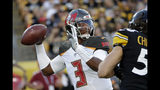 Tampa Bay Buccaneers quarterback Jameis Winston (3) looks to pass the ball during the first half of an NFL preseason football game against the Pittsburgh Steelers in Pittsburgh, Friday, Aug. 9, 2019. (AP Photo/Don Wright)