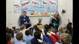 "FILE-- IN this March 1, 2019 file photo first partner, Jennifer Siebel Newsom gets a laugh at the expense of her husband, Gov. Gavin Newsom as she reads the book ""Ada Twist, Scientist"" by Andrea Beaty and David Roberts, to kindergarteners at the Washington Elementary School in Sacramento, Calif. Siebel Newsom visited the school, with her husband to celebrate Read Across America Day. She often attends events with her husband but also works on issues of her own including equal rights for women. (AP Photo/Rich Pedroncelli, File)"