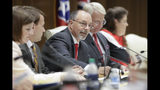 Senator Mike Bell, R-Riceville, center, chairs a Senate hearing to discuss a fetal heartbeat abortion ban, or possibly something more restrictive, Monday, Aug. 12, 2019, in Nashville, Tenn. (AP Photo/Mark Humphrey)
