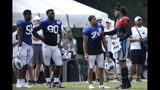 Carolina Panthers quarterback Cam Newton, right, speaks with Buffalo Bills' Kurt Coleman while Bills' Mike Love (56) and Shaq Lawson (90) look on during an NFL football training camp in Spartanburg, S.C., Tuesday, Aug. 13, 2019. (AP Photo/Gerry Broome)