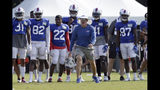 Buffalo Bills coach Sean McDermott yells during an NFL football training camp with the Carolina Panthers in Spartanburg, S.C., Tuesday, Aug. 13, 2019. (AP Photo/Gerry Broome)