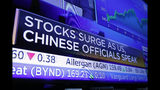 A television on the floor of the New York Stock Exchange headlines market activity, Tuesday, Aug. 13, 2019.Stocks shot higher on Wall Street after the U.S. government announced it was delaying the implementation of tariffs on certain goods imported from China. (AP Photo/Richard Drew)