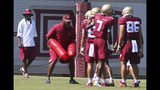 Florida State head coach Willie Taggart, left, watches the progress of a group of wide receivers during an NCAA college football preseason practice Sunday, Aug. 4, 2019, in Tallahassee, Fla. (AP Photo/Phil Sears)
