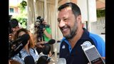 "Italian Deputy Prime Minister and Interior Minister, Matteo Salvini receives media attention at the end of a political rally as part of his 'Italian summer tour', in Taormina, Southern Italy, Sunday, Aug. 11, 2019. Italy on Friday edged closer to holding an election as early as this fall that could move the country farther to the right, with anti-migrant Deputy Premier Matteo Salvini already unofficially campaigning for the premiership and declaring it makes ""no sense"" to keep alive the feuding populist coalition government. (Carmelo imbesi/ANSA via AP)"