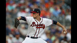 Atlanta Braves starting pitcher Max Fried (54) works against the New York Mets in the first inning of a baseball game Tuesday, Aug. 13, 2019, in Atlanta. (AP Photo/John Bazemore)