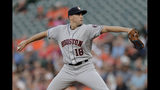 Houston Astros starting pitcher Aaron Sanchez throws to a Baltimore Orioles batter during the first inning of a baseball game Saturday, Aug. 10, 2019, in Baltimore. (AP Photo/Julio Cortez)