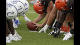 The Indianapolis Colts and Cleveland Browns run a drill during practice at the NFL team's football training camp in Wednesday, Aug. 14, 2019, in Westfield, Ind. (AP Photo/Darron Cummings)