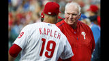 Philadelphia Phillies hitting coach Charlie Manuel, right, shakes hands with manager Gabe Kapler before the team's baseball game against the Chicago Cubs, Wednesday, Aug. 14, 2019, in Philadelphia. (AP Photo/Chris Szagola)