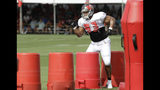 Tampa Bay Buccaneers defensive lineman Ndamukong Suh (93) runs around obstacles during an NFL football training camp practice with the Miami Dolphins Tuesday, Aug. 13, 2019, in Tampa, Fla. (AP Photo/Chris O'Meara)