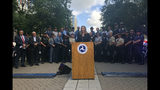Jamie Pfister, associate administrator for Regional Operations and Program Delivery at the National Highway Traffic Safety Administration, speaks during a news conference at the headquarters of the Department of Transportation in Washington, Wednesday Aug. 14, 2019. About 30,000 police officers will be out in the streets making traffic stops around the United States for the next two weeks in an effort to crack down on impaired driving. (AP Photo/Luis Alonso Lugo)