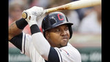 FILE - In this Aug. 12, 2019, file photo, Cleveland Indians' Jose Ramirez bats against the Boston Red Sox in the third inning of a baseball game, in Cleveland. The Indians' clubhouse is buzzing like always three hours prior to a three-game series opener against the Boston Red Sox, whose World Series defense isn't going particularly well right now. (AP Photo/Tony Dejak, File)