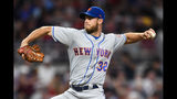 New York Mets' Steven Matz pitches against the Atlanta Braves during the first inning of a baseball game Wednesday, Aug. 14, 2019, in Atlanta. (AP Photo/John Amis)