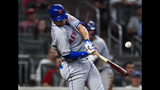 New York Mets' J.D. Davis connects for a two-run single to center field during the seventh inning of the team's baseball game against the Atlanta Braves, Wednesday, Aug.14, 2019, in Atlanta. (AP Photo/John Amis)