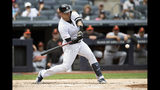 New York Yankees' Gary Sanchez hits a home run during the first inning of a baseball game against the Baltimore Orioles, Wednesday, Aug. 14, 2019, in New York. (AP Photo/Mary Altaffer)