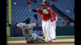 Los Angeles Angels second baseman Luis Rengifo completes a double play over Pittsburgh Pirates' Starling Marte after a ground ball by Josh Bell during the first inning of a baseball game Wednesday, Aug. 14, 2019, in Anaheim, Calif. (AP Photo/Marcio Jose Sanchez)