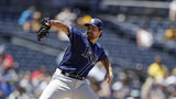 Tampa Bay Rays starting pitcher Jalen Beeks works against a San Diego Padres batter during the second inning of a baseball game Wednesday, Aug. 14, 2019, in San Diego. (AP Photo/Gregory Bull)