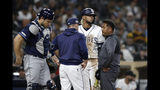San Diego Padres' Fernando Tatis Jr., second from right, talks with manager Andy Green, second from left, and a trainer during an at-bat as Tampa Bay Rays catcher Mike Zunino stands at left during the sixth inning of a baseball game Tuesday, Aug. 13, 2019, in San Diego. (AP Photo/Gregory Bull)