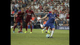Chelsea's Jorginho scores his side's second goal from the penalty spot during the UEFA Super Cup soccer match between Liverpool and Chelsea, in Besiktas Park, in Istanbul, Wednesday, Aug. 14, 2019. (AP Photo)